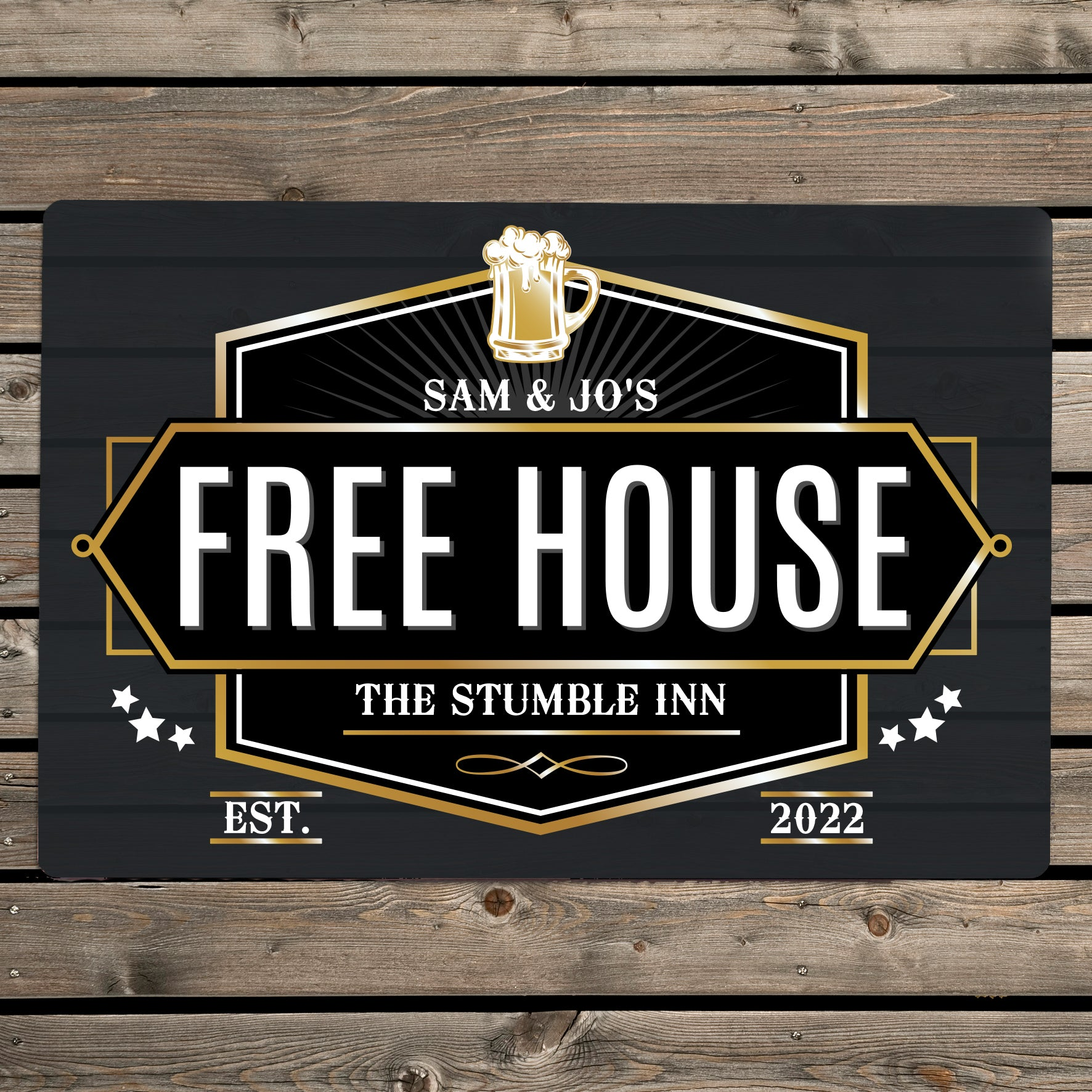 Personalised Free House Black Metal Sign, Signage by Low Cost Gifts