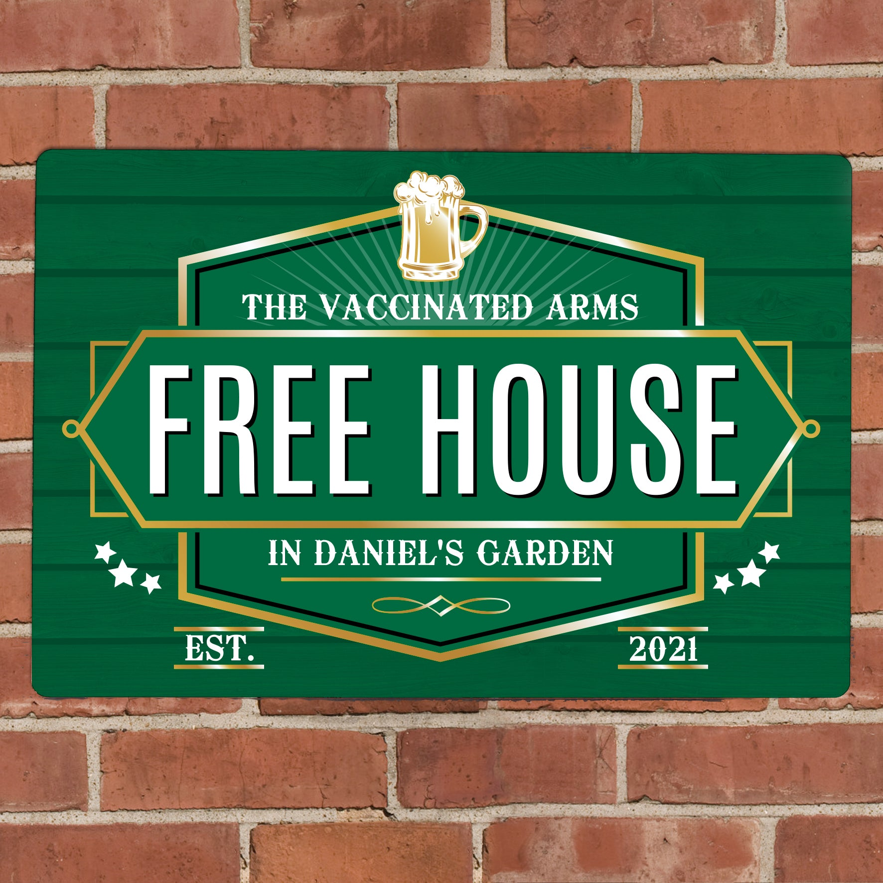 Personalised Free House Green Metal Sign, Signage by Low Cost Gifts