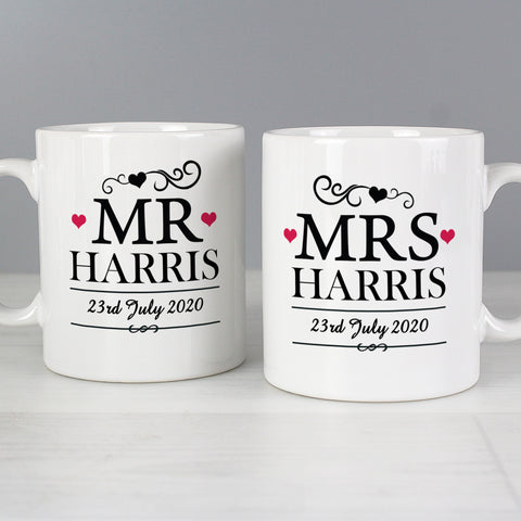 Personalised Mr & Mrs Mug Set - Shane Todd Gifts UK