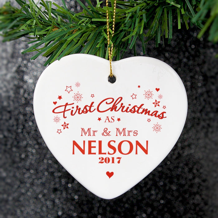Personalised 'Our First Christmas' Ceramic Heart Decoration