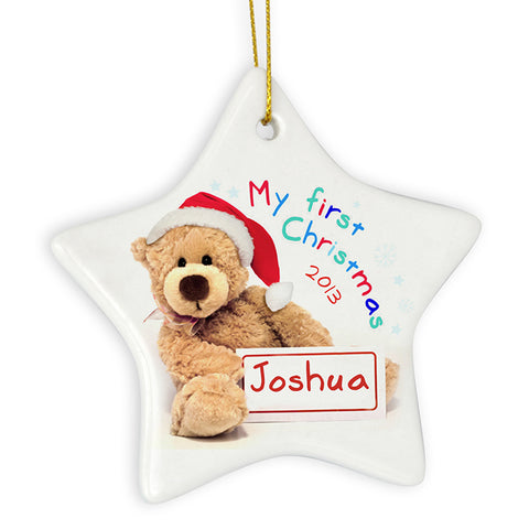 Buy Personalised My First Christmas Teddy Ceramic Star Decoration