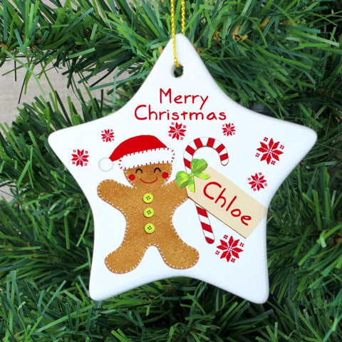 Personalised Felt Stitch Gingerbread Man Ceramic Star Decoration - Shane Todd Gifts UK