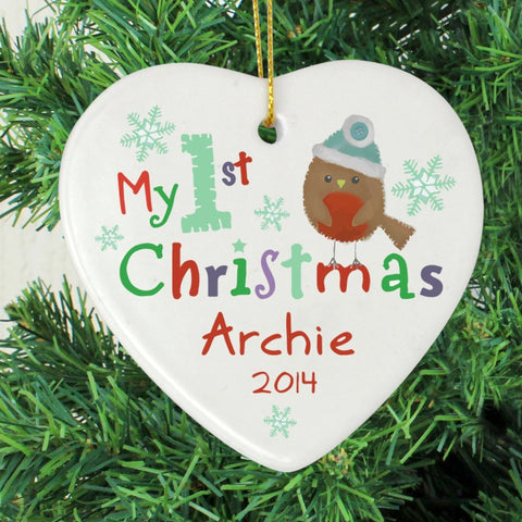 Buy Personalised My 1st Christmas Ceramic Heart