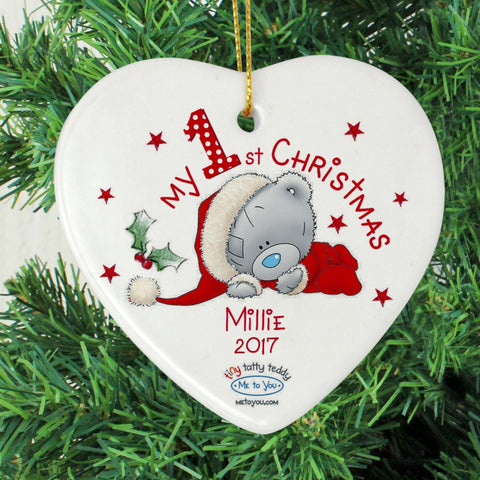 Personalised Me to You My 1st Christmas Ceramic Heart Decoration | ShaneToddGifts.co.uk