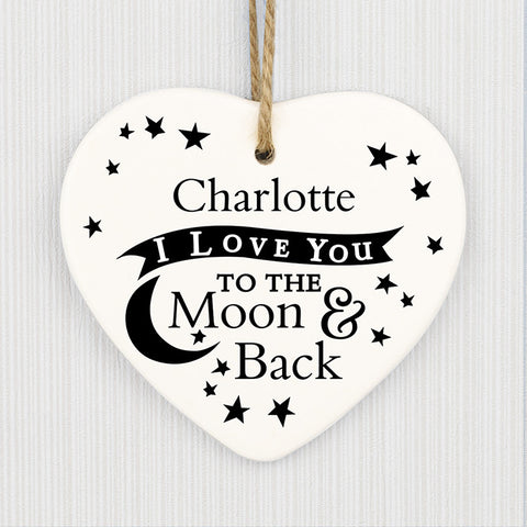 Buy Personalised To the Moon and Back... Ceramic Heart Decoration
