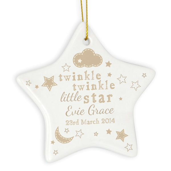 Personalised Twinkle Twinkle Ceramic Star Decoration