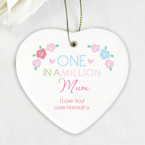 Personalised One in a Million Ceramic Heart Decoration