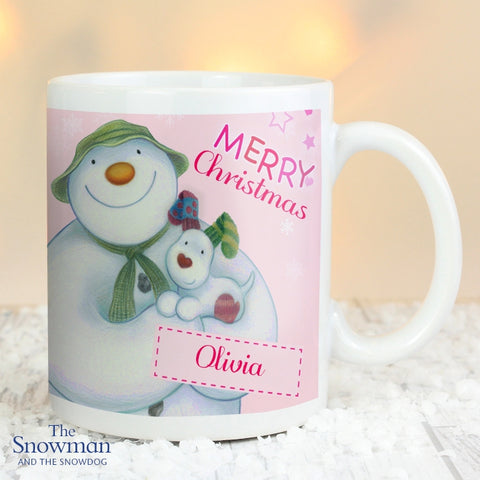 Buy Personalised The Snowman and the Snowdog Pink Mug