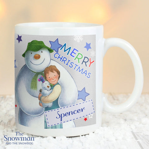 Buy Personalised The Snowman and the Snowdog Blue Mug
