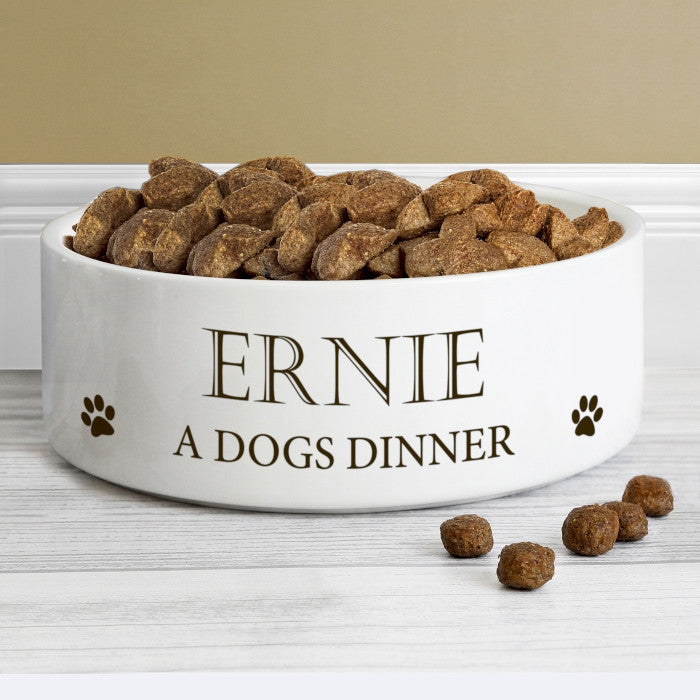 Personalised Paws 14cm Medium White Pet Bowl, Animals & Pet Supplies by Low Cost Gifts
