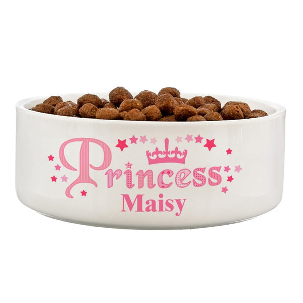 personalised-princess-14cm-medium-white-pet-bowl