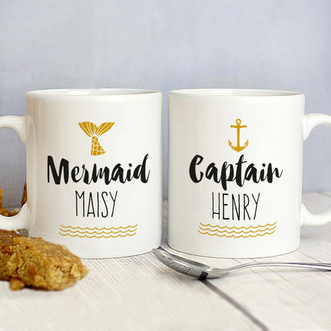 Personalised Mermaid and Captain Mug Set - Shane Todd Gifts UK