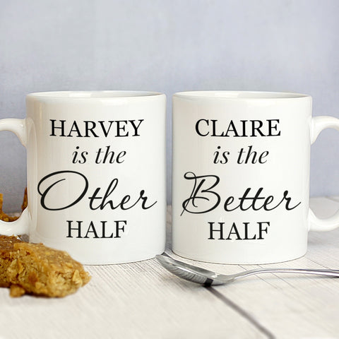 Buy Personalised Other Half and Better Half Mug Set
