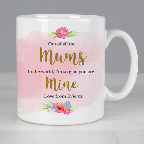 Buy Personalised Floral Watercolour Mug