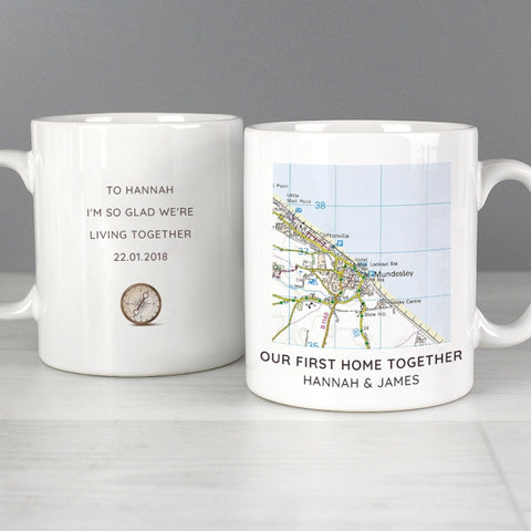 Buy Personalised Present Day Map Compass Mug