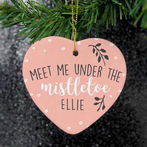 Personalised 'Meet Me Under The Mistletoe' Ceramic Heart Decoration