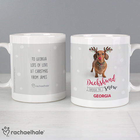 Buy Personalised Rachael Hale Christmas Dachshund Through the Snow Mug