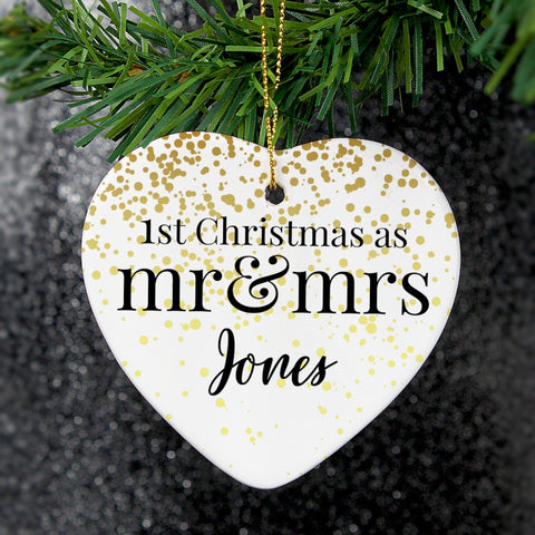 Buy Personalised Mr and Mrs 1st Christmas Ceramic Heart Decoration