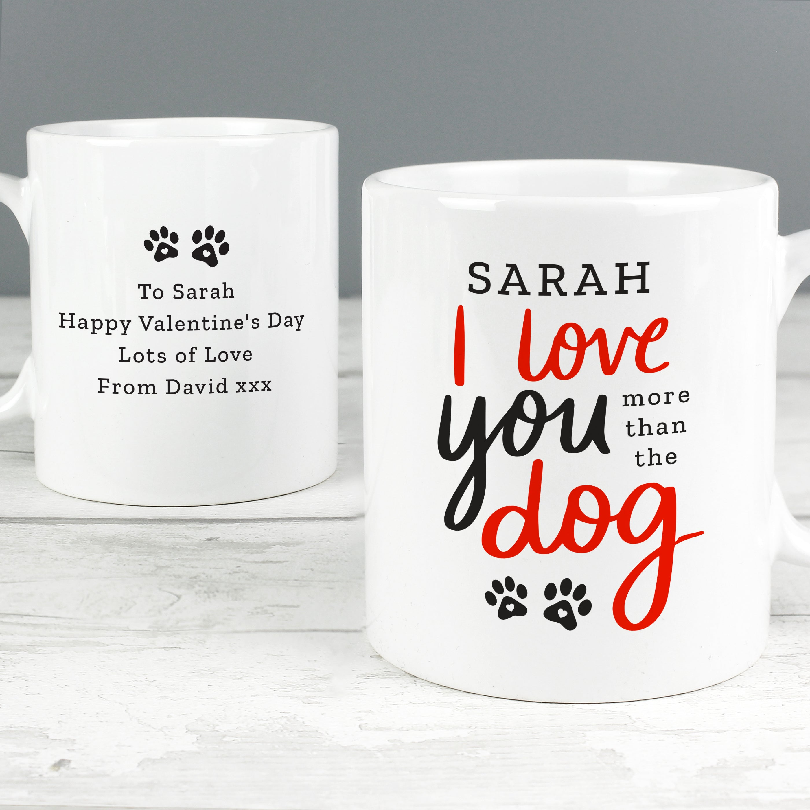 Personalised I Love You More Than The Dog Mug, Home & Garden by Low Cost Gifts