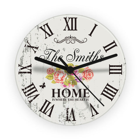 Buy Personalised Shabby Chic Floral Glass Clock