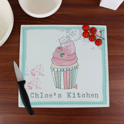 Personalised Vintage Pastel Cupcake Glass Chopping Board | ShaneToddGifts.co.uk