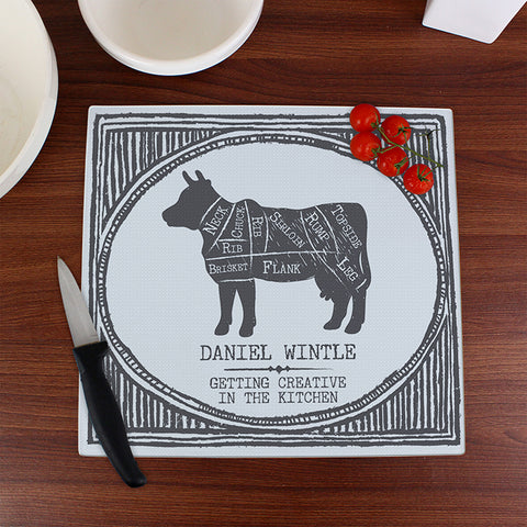 Personalised Meat Cuts Glass Chopping Board | ShaneToddGifts.co.uk