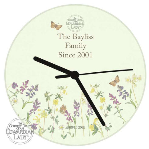 Buy Personalised Country Diary Wild Flowers Glass Clock