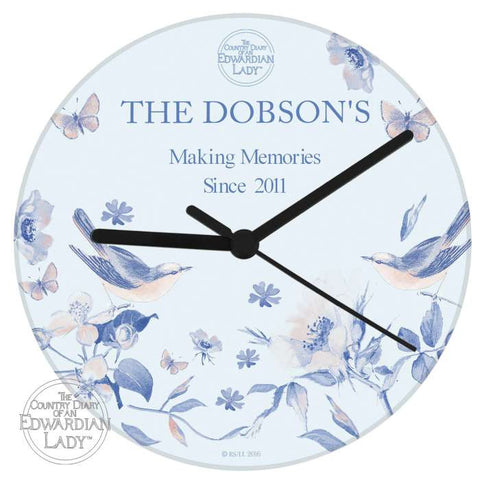 Buy Personalised Country Diary Blue Blossom Glass Clock