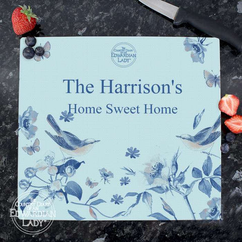 Personalised Country Diary Blue Blossom Glass Chopping Board - Shane Todd Gifts UK
