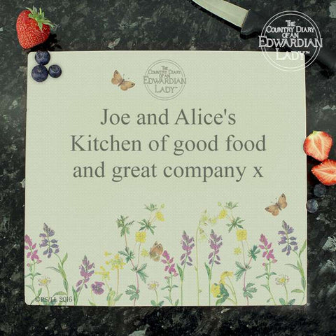 Personalised Country Diary Wild Flowers Glass Chopping Board - Shane Todd Gifts UK