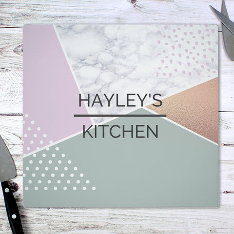 Personalised Geometric Glass Chopping Board/Worktop Saver