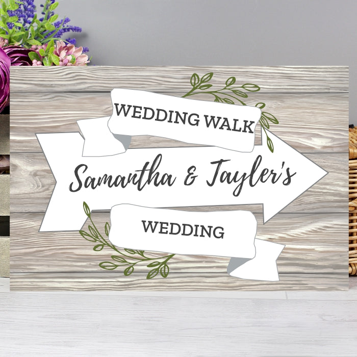 Personalised White Arrow Banner Metal Sign, Signage by Low Cost Gifts