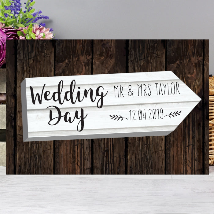 Personalised Wedding Day White Arrow Metal Sign, Signage by Low Cost Gifts