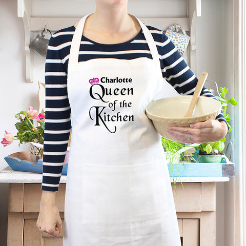Personalised Queen of the Kitchen Apron.