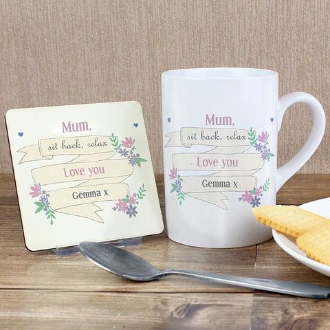 Personalised Garden Bloom Mug & Coaster Set - Shane Todd Gifts UK