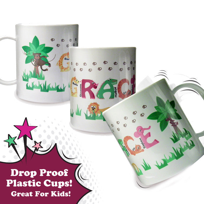 Personalised Pink Animal Alphabet Plastic Cup Mug, Kitchen & Dining by Gifts24-7