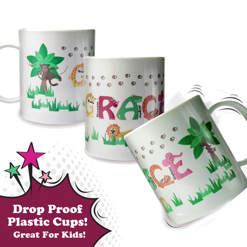 Buy Personalised Animal Alphabet Plastic Cup Girls