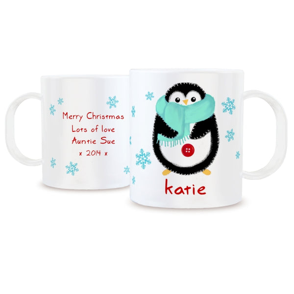 personalised-felt-stitch-penguin-plastic-mug
