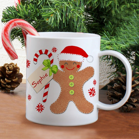 Personalised Felt Stitch Gingerbread Man Plastic Mug - Shane Todd Gifts UK