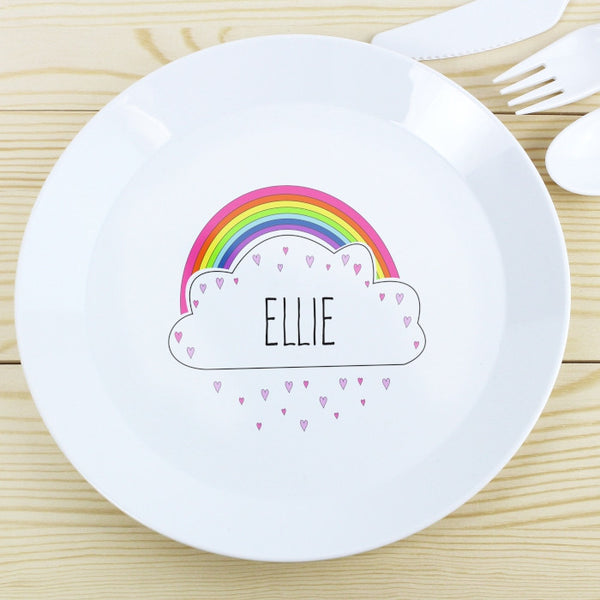 Buy Personalised Rainbow Plastic Plate