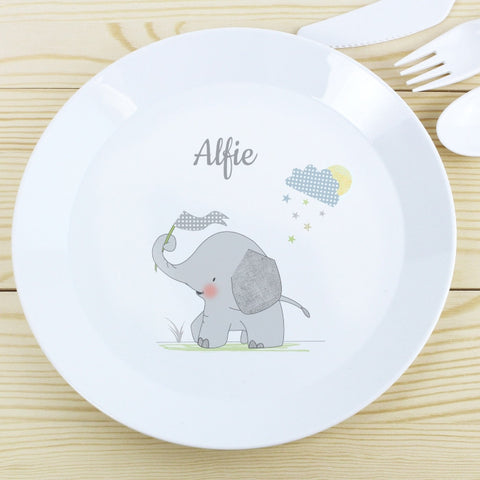 Buy Personalised Hessian Elephant Plastic Plate