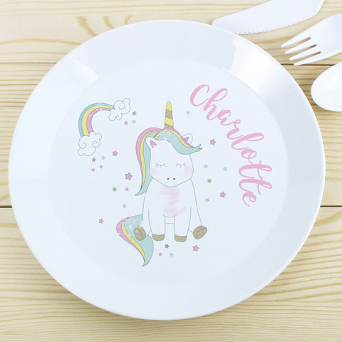 Buy Personalised Baby Unicorn Plastic Plate