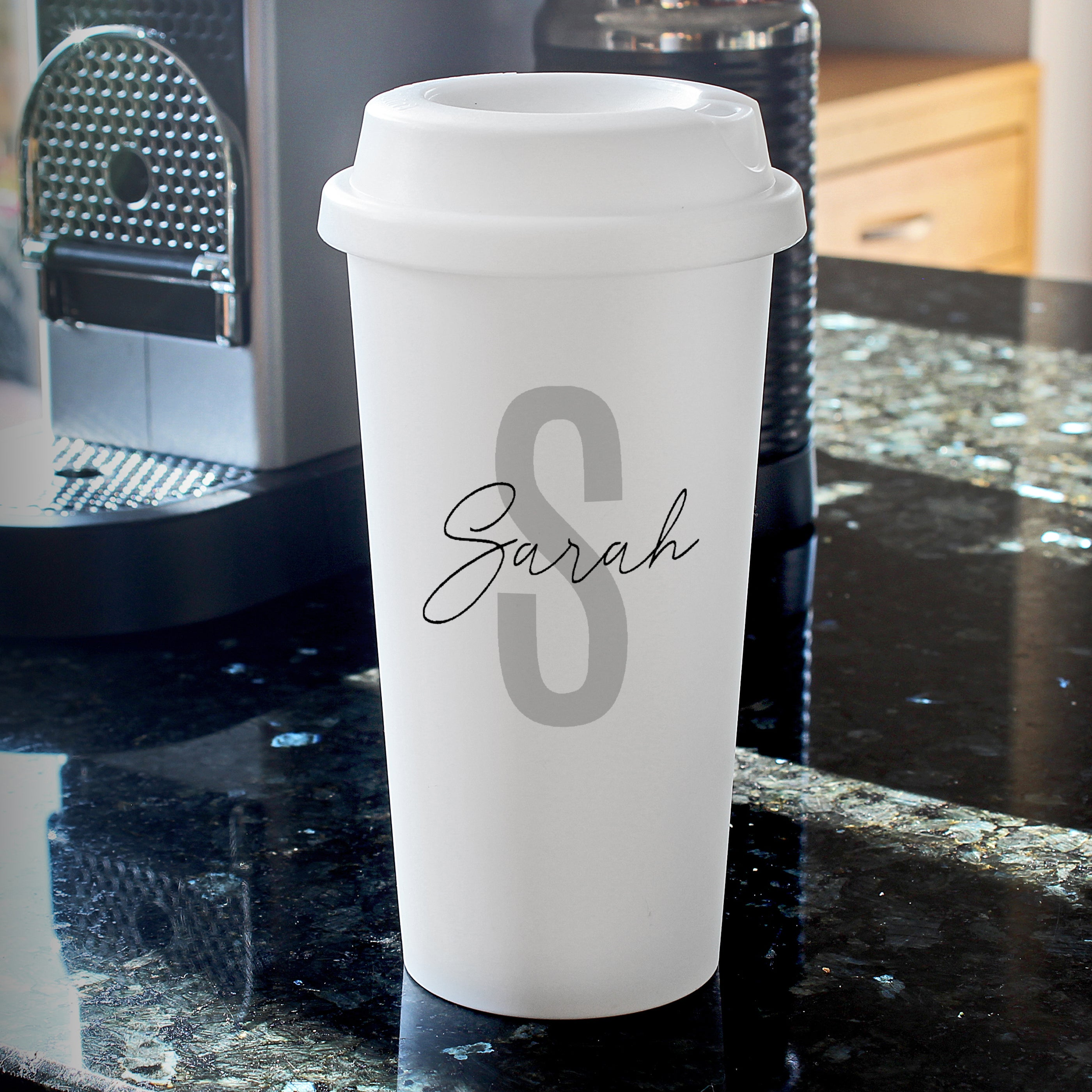 Personalised Initial & Name Double Walled Travel Mug, Home & Garden by Low Cost Gifts