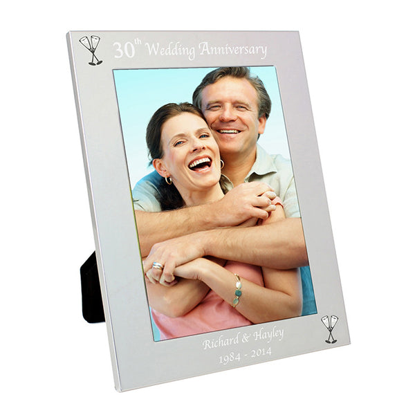 Personalised Silver 5x7 30th Wedding Anniversary Photo Frame