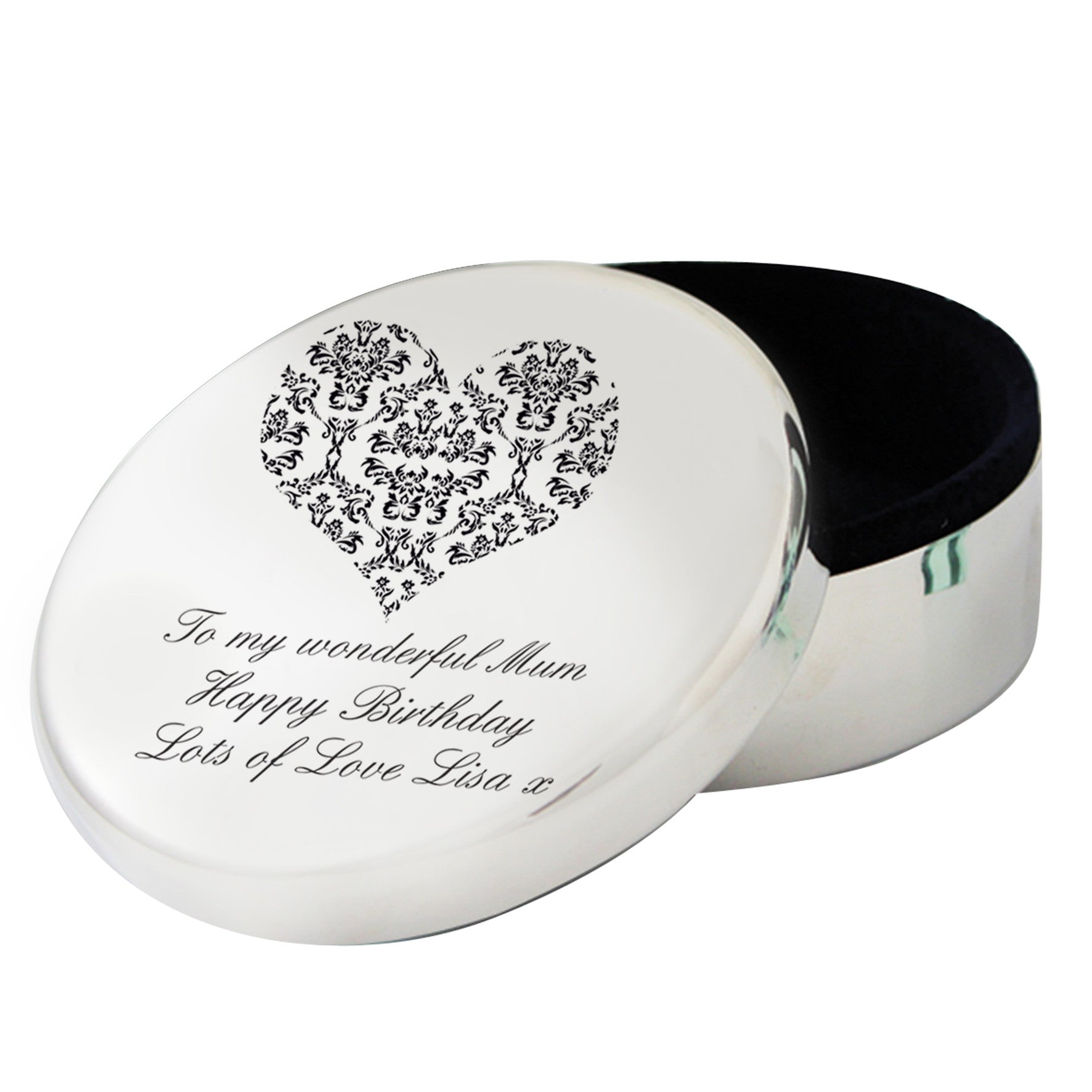 Personalised Damask Heart Round Trinket Box