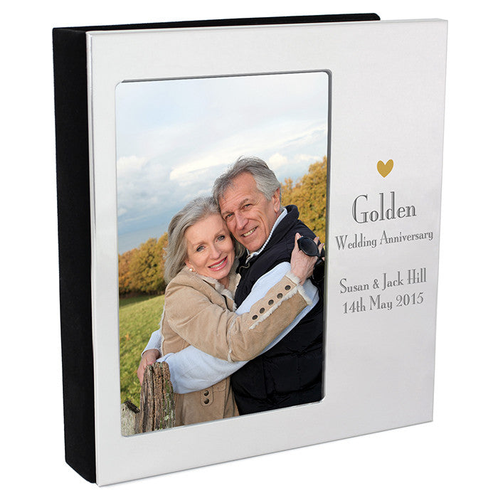 Personalised Decorative Golden Anniversary Photo Frame Album 4x6 With a Silver Finish