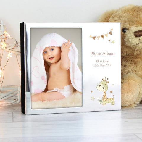 Buy Personalised Silver Finish Hessian Giraffe Photo Frame Album 4x6