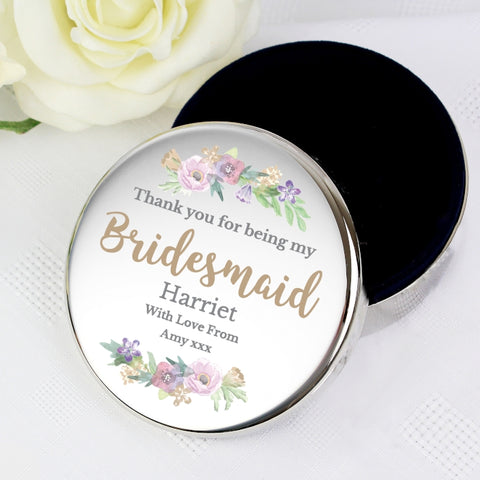 Buy Personalised Floral Watercolour Bridesmaid Wedding Round Trinket Box