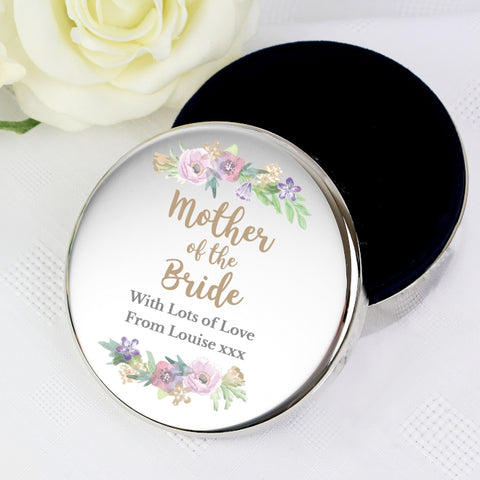 Buy Personalised Floral Watercolour Mother of the Bride Wedding Round Trinket Box