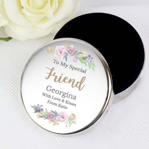 Buy Personalised Floral Watercolour Round Trinket Box